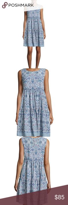 """Max Studio sleeveless floral print tiered dress Breezy light sleeveless dress in a stone & blue floral print. Built in slip. Pull over style with back button at neck. A classic A line silhouette. Polyester & machine washable. 36"""" from shoulder to hem. Max Studio Dresses"""
