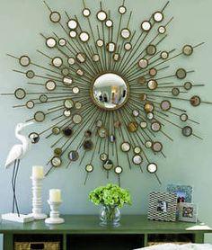 63-STARBURST-SUNBURST-WALL-MIRROR-50S-MID-CENTURY-MODERN-STYLE-MANTLE-NEW Hall And Living Room, Starburst Mirror, Mid Century Modern Furniture, Contemporary Bedroom, Decoration, Mid-century Modern, Wall Decor, Wall Art, House Design
