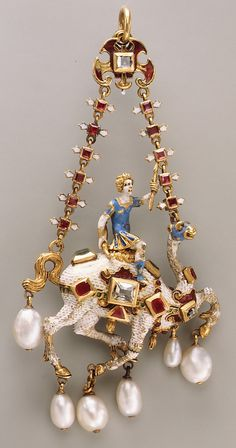 Pendant | Date: ca. 1600 | Culture: Northern European | Medium: Gold, enamel, rubies, emeralds, diamonds, pearls | Accession Number: 32.100.299