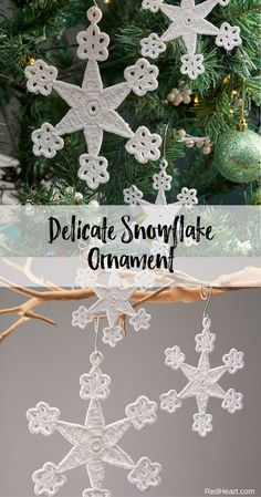Delicate Snowflake Ornament crocheted in Aunt Lydias Fine Crochet Size 20. Crochet some snowflakes and create a flurry of loveliness for your tree. This pretty design will look just as nice crocheted in size 3, 10 or 20 weight crochet thread!