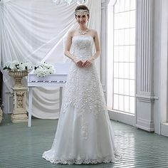 Sheath/Column+Wedding+Dress+-+White+Sweep/Brush+Train+Strapless+Lace+–+USD+$+129.99