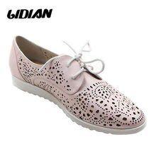 d053f277 LIDIAN zapatos planos de verano transpirables de mujer Slip On Pink zapatos  de cuero Real de