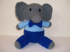 Crocheted Amigurumi Stuffed Boy Elephant by juliescraftcorner