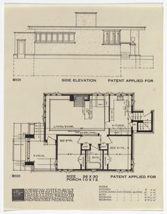 American System-Built Houses for The Richards Company project, Milwaukee, Wisconsin (Plan and elevation). Falling Water Frank Lloyd Wright, Frank Lloyd Wright Homes, Craftsman Bungalow House Plans, Usonian House, American System, Prairie House, Apartment Plans, Architecture Plan, House Layouts