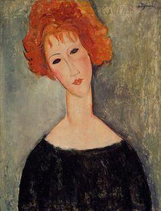 Red Head Painting  - Modigliani