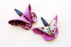 Fabric Origami butterfly hair clip  by Bellaandco on Etsy, $9.00