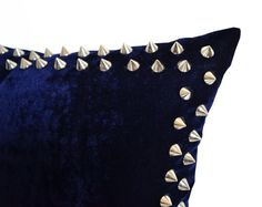 Decorative Throw Pillow Cover Navy Blue Velvet by AmoreBeaute