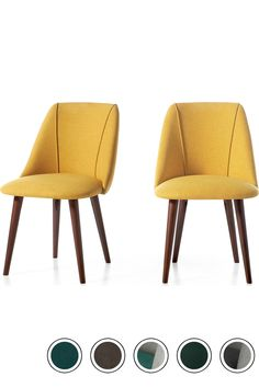 MADE Set Of 2 Dining Chairs in Yellow & Walnut. Lule Dining Chairs Collection from pieces. Yellow Dining Chairs, Kitchen Chairs, Upholstered Dining Chairs, Dining Room Chairs, Dining Area, Mustard Kitchen, Apartment Needs, Upholstery, Furniture
