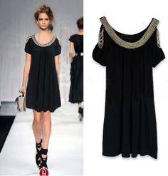 Black Split Sleeve Beaded Gorgeous Dress