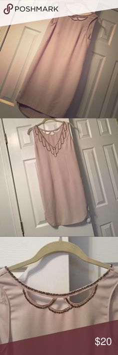 Pale pink embroidered dress Gorgeous pale pink dress with embroidery on the front and back. Worn a few times but in good condition. H&M Dresses