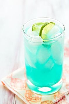 The Blue Margarita Recipe ~ Curacao, a blue orange liqueur, is the secret behind this pretty margarita.