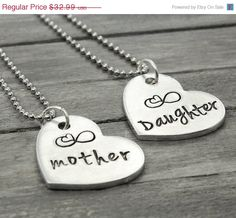 Mother and Daughter Necklaces, Mother Daughter Necklace Set, Mothers Day Gift, Personal Gift Idea,Mother Necklace,Daughter Necklace