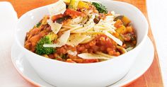 With an abundance of vegetables and rich tomato flavour, this pasta will appeal to everyone - not just the vegetarians.
