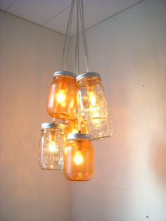 Mason Jar Chandelier  Mason Jar Lighting  Amber by BootsNGus, $140.00