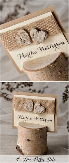 Rustic Wedding Place Table card with wooden birch bark hearts and burlap with wooden holder #wood #rustic #eco #unique #burlap #romantic