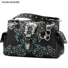 *+NEW+TOP+QUALITY+LEATHERETTE+MATERIAL  *+TWO+CHAIN+AND+LEATHERETTE+STRAP  *+FRONT+FLAP+RHINESTONE+BUCKLE+ORNAMENT  *+TWO+SIDE+POCKETS  *+TOP+ZIP+CLOSURE+/+TWO+COMPARTMENTS    *+BACK+CONCEALED+WEAPON+ZIPPER+POCKET+