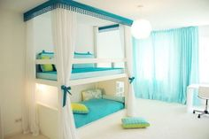 cool blue and green teen bedroom