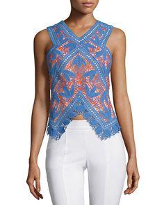 TORY BURCH Eve Lace Crochet Cutaway Top. #toryburch #cloth #