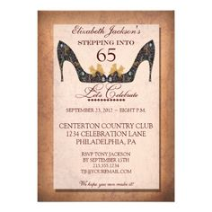 Vintage Floral Shoe 65th Birthday Party Invitation 55th 60th Gifts Surprise