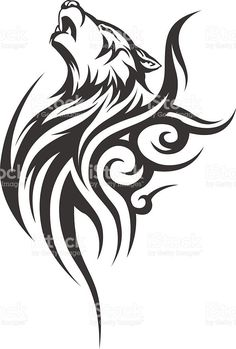 Vector illustration without transparency. Tattoos And Body Art tribal tattoo designs Wolf Tattoos Men, Black Tattoos, Body Art Tattoos, Small Tattoos, Tattoos For Guys, Tattoo Wolf, Wolf Tattoo Tribal, Woman Tattoos, Belly Tattoos