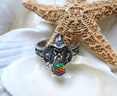 Sterling Silver Merlin Wizard Ring Swarovski Borealis Crystal Ball, to purchase double click on picture.