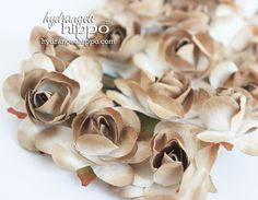 Soft Shabby Kraft Brown - Large Roses - Set of  90 on Wire Stem