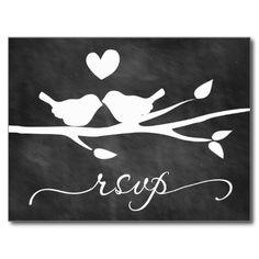 Chalkboard Birds Heart RSVP Postcard