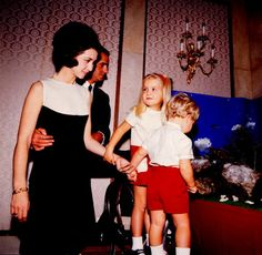 Princess Sofia and Prince Juan Carlos (now Queen and King of Spain) with Infanta Elena and Infante Felipe