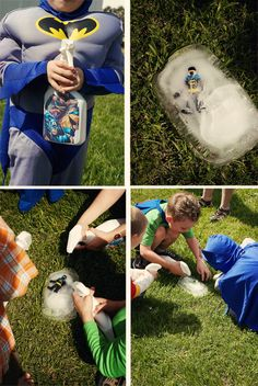 Superhero Party - The evil Mr. Freeze froze Batman in a block of ice. The kids had to rescue him with their super squirters. This was by far the favorite activity at the party!
