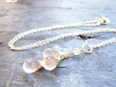 Teardrop Rose Quartz Necklace Pink Trio of by AeridesDesigns, $47.00