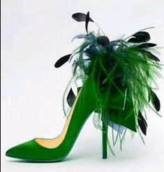 Green - Whimsical Louboutin Ribbon and Feather stiletto - http://bentonandtilley.stfi.re