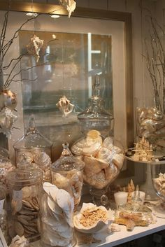there are always plenty of seashells and beach themed items in this shop by the water.
