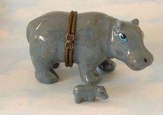 New  Handpainted Jungle Hippo Hippopotamus Porcelain Hinged Trinket Box phb