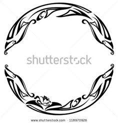 art nouveau style round frame - black and white abstract floral design by Cattallina, via Shutterstock