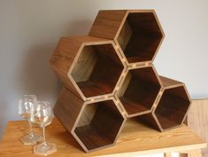 Custom Made Big Drona Hexagonal Wine Rack, 35-Bottle Capacity