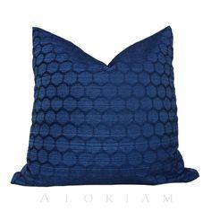 Navy Blue Geometric Honeycomb Hexagon Pattern Pillow Cushion Cover