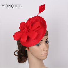 2017 New Women DIY Flower Fascinator Imitation Sinamay Hat Girls Wedding Party Church Fascinator Base With Feather Hair band
