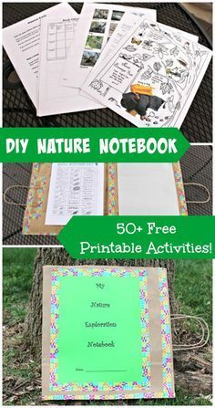 Outdoor Nature Activities w/FREE printables! Create a custom nature journal with a paper bag & get out to explore! {Full tutorial in post!}