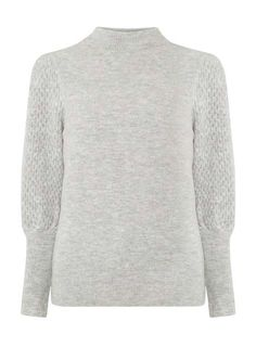 Grey Textured Sleeve Jumper