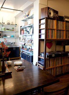 Erin & Danny Living Together in Only 500 Square Feet House Tour Record Shelf, Vinyl Record Storage, Record Stand, Record Display, Small Rooms, Small Spaces, Audio Room, Apartment Therapy, House Tours
