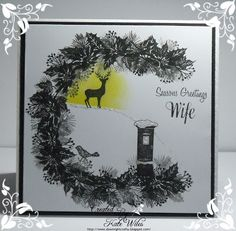 handmade CAS Wife Christmas Card using Cardio - Majestix little stamps Downrightcrafty