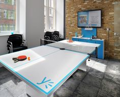 Game zone at Yammer in London, featuring Milliken's Comfortable Concrete and Fix collections. Designed by Progress Workplace Design Solutions.