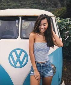 Attractive asian girl with vintage VW Transporter Volkswagen Minibus, Vw T1, Volkswagen Transporter, Kombi Hippie, Hot Vw, Bus Girl, Combi Vw, Cool Vans, Vans Girls