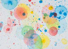 Popped Bubble Art - simply add food colouring to the bubble mix and blow onto art paper. Outside activity.