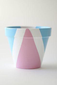 Pastel Pink Pastel Blue And White Geometric Pattern Plant