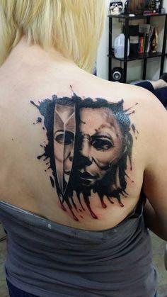 http://tattooideas247.com/michael-myers-tattoo/ Michael Myers Tattoo #Halloween, #Knife, #Mask, #MichaelMyers