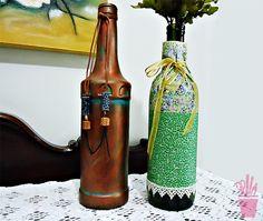 Como decorar uma garrafa com tecido