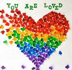 The Dynamic-lesbos. — You are loved. Rainbow Heart, Rainbow Pride, Art For Kids, Crafts For Kids, Pride Week, Unique Birthday Gifts, Romantic Birthday, Classroom Displays, Library Displays
