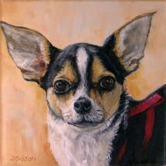 Chihuahua+Dog+Oil+Painting+Pet+Art+Portrait,+painting+by+artist+Debra+Sisson