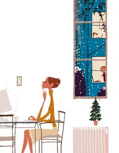 A dog, so universally loved by movie makers as a symbol of instinct, can be seen at the keyboard on the top floor in the background. Illustration Photo, People Illustration, Illustration Sketches, Illustrations And Posters, Graphic Design Illustration, Artist Life, Christmas Illustration, Japanese Artists, Character Design Inspiration